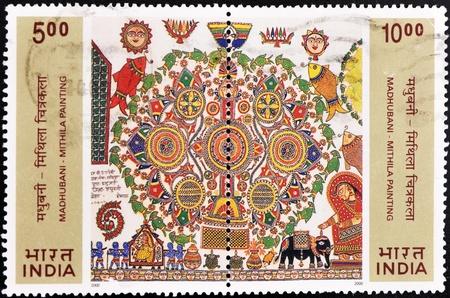 philatelist: INDIEN - CIRCA 2000: Ein Stempel in Indien gedruckt zeigt Mithila Gem�lde, um 2000