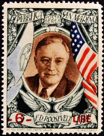 roosevelt: SAN MARINO - CIRCA 1947: A stamp printed in San Marino shows image of President Theodore Roosevelt, circa 1947