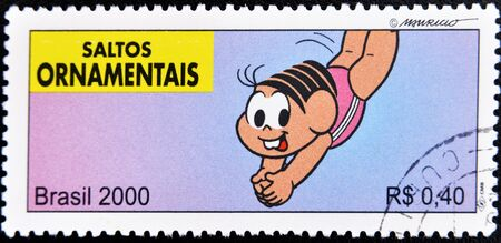 BRAZIL - CIRCA 2000: A stamp printed in Brazil shows a picture of a person practicing triple jump, serie, circa 2000  Stock Photo - 10741359