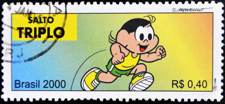 philately: BRAZIL - CIRCA 2000: A stamp printed in Brazil shows a picture of a person practicing triple jump, serie, circa 2000  Stock Photo