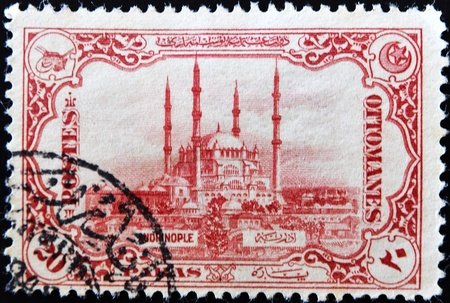 postage stamp: TURKEY - CIRCA 1914: A stamp printed in Turkey shows image the mosque of St. Sofia, circa 1914