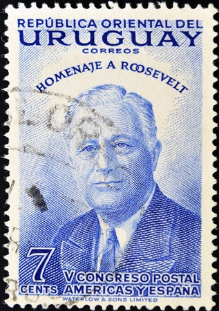 roosevelt: URUGUAY - CIRCA 1953: A stamp printed in Uruguay in honor of President Roosevelt, circa 1953