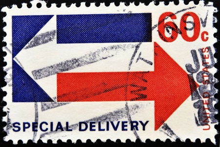 circa: USA - CIRCA 1973: A stamps printed in USA showing Air Mail Special delivery, circa 1973  Stock Photo