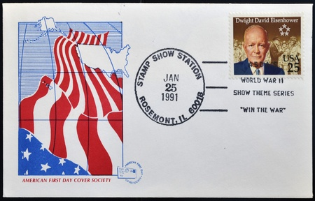 USA - CIRCA 1991: A stamp shows image portrait Dwight David  Eisenhower, the 34th President of the United States, postal american first day cover society, circa 1991.