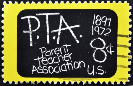 UNITED STATES OF AMERICA - CIRCA 1972: A stamp printed in the USA shows image celebrating the 75th anniversary of the Parent Teacher Association, circa 1972 Stock Photo - 10741197