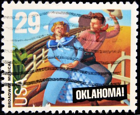 philately: UNITES STATES OF AMERICA - CIRCA 2007: A stamp printed in USA showing two characters in the broadway musical oklahoma, circa 2007