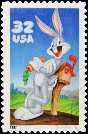 UNITED STATES OF AMERICA - CIRCA 1997: A stamp printed in USA shows Bugs Bunny, circa 1997