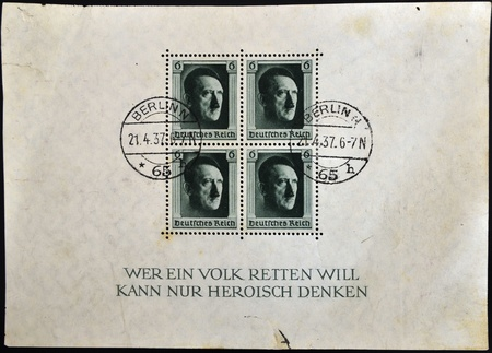 GERMANY - CIRCA 1937 - 4 German canceled stamps - sheet - show portrait of Adolf Hitler, German Reich, circa 1937