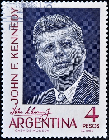 jfk: ARGENTINA - CIRCA 1964: A stamp printed in Argentina shows president John F Kennedy, circa 1964