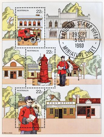 philately: AUSTRALIA - CIRCA 1980: A stamp printed in Australia shows different images relating to the post office, circa 1980