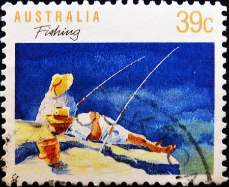 AUSTRALIA - CIRCA 1989: A stamp printed in Australia shows fishing, circa 1989 Stock Photo - 11015668
