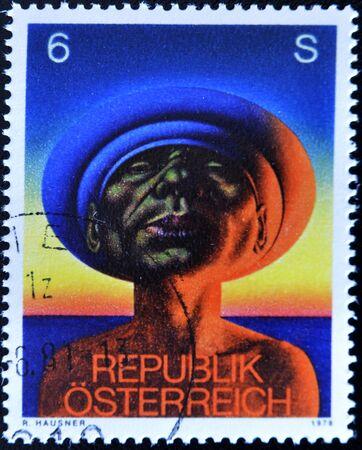 AUSTRIA - CIRCA 1978: A stamp printed in Austria, shows Adam, by Rudolf Hausner, circa 1978 Stock Photo - 11015658