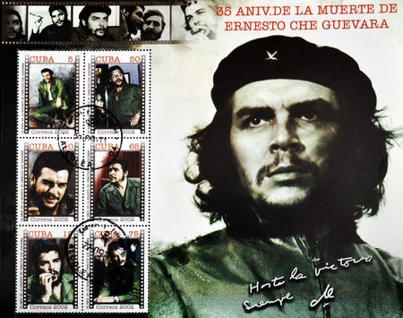 communism: CUBA - CIRCA 2002: A stamp printed in cuba commemorating the 35th anniversary of the death of Ernesto Che Guevara, circa 2002