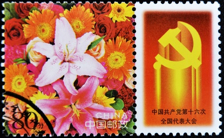 CHINA - CIRCA 1990: A stamp printed in China shows a flower, circa 1990 Stock Photo - 11015603