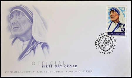 calcutta: CYPRUS - CIRCA 2002: A stamp printed in Cyprus shows Mother Teresa of Calcutta, first day of issue, circa 2002