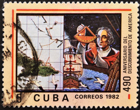 CUBA - CIRCA 1982: A stamp printed in Cuba shown Cristobal Colon in commemoration of the discovery of america Stock Photo - 10976143