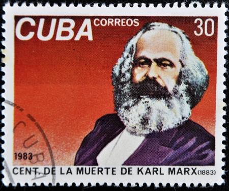 Cuba - CIRCA 1983: A Stamp printed in the Cuba shows portrait Karl Marx, circa 1983.