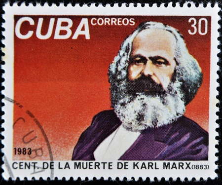marx: Cuba - CIRCA 1983: A Stamp printed in the Cuba shows portrait Karl Marx, circa 1983.
