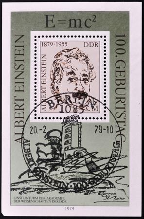 GERMAN DEMOCRATIC REPUBLIC - CIRCA 1979: A stamp printed in the German Democratic Republic shows scientist Albert Einstein, circa 1979