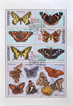 philately: SLOVAKIA - CIRCA 2002: A stamp printed in Slovakia shows different kinds of butterflies, serie, circa 2002