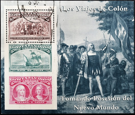 queen isabella: SPAIN - CIRCA 1992: A stamp printed in spain shows Columbus taking possession of the new world, circa 1992