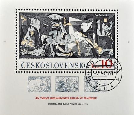 picasso: CZECHOSLOVAKIA - CIRCA 1981: A stamp printed in Czechoslovakia shows painting by Pablo Picasso Guernica, circa 1981
