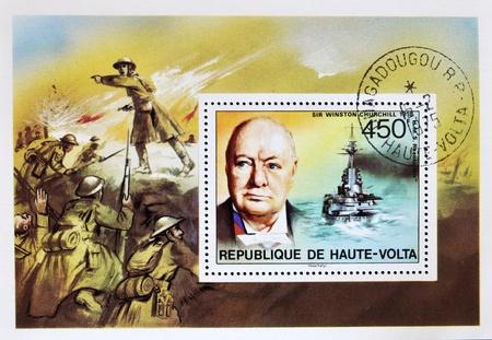 REPUBLIC OF UPPER VOLTA, BURKINA FASO - CIRCA 1975: A stamp printed in Republic of Upper Volta shows Sir Winston Churchill, circa 1975 Stock Photo - 10958360