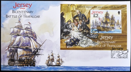 hms: JERSEY - CIRCA 2005: A stamp printed in Jersey commemorating the bicentenary of the Battle of Trafalgar, firs day of issue, circa 2005