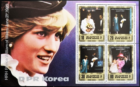 prince charles of england: NORTH KOREA - CIRCA 1982: A stamp printed in DPR Korea shows Princess Diana of Wales after the birth of Prince William, circa 1982