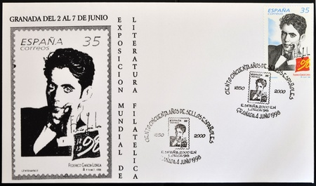 philatelic: SPAIN - CIRCA 1998: A stamp printed in Spain showing the universal poet Federico García Lorca, circa 1998 Editorial