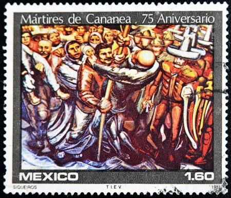 philatelist: MEXIKO - CIRCA 1981: Ein Stempel in Mexiko gedruckt zeigt ein Detail der M�rtyrer von Cananea Malerei, die Maler Siqueiros, circa 1981