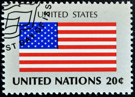 united nations: UNITED NATIONS - CIRCA 1981: A stamp printed by United Nations shows flag united states os america, circa 1981 Stock Photo