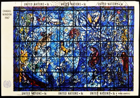 chagall: UNITED NATIONS - CIRCA 1967: A stamp printed by United Nations shows Chagall windows, circa 1967