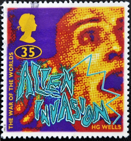 a war historian: UNITED KINGDOM - CIRCA 1995: A stamp printed in Great Britain shows the war of the worlds by HG Wells, circa 1995