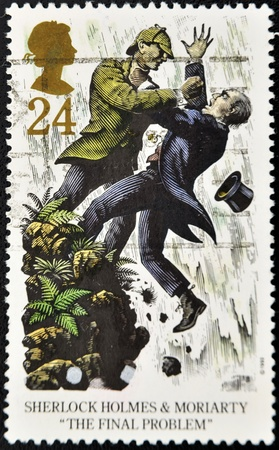 sherlock: UNITED KINGDOM - CIRCA 1993: A stamp printed in Great Britain shows Sherlock Holmes and Moriarty in The final problem, circa 1993