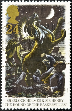 sleuth: UNITED KINGDOM - CIRCA 1993: A stamp printed in Great Britain shows Sherlock Holmes and Sir Henry in The hound of the baskervilles, circa 1993
