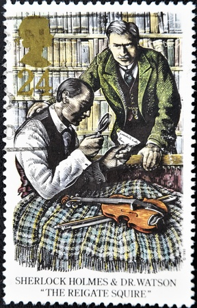 holmes: UNITED KINGDOM - CIRCA 1993: A stamp printed in Great Britain shows Sherlock Holmes and Dr. Watson in the reigate squire, circa 1993 Editorial
