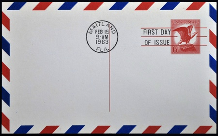 UNITED STATES OF AMERICA - CIRCA 1963: A stamp printed in USA shows american eagle, post first day of issue, circa 1963  Stock Photo - 10948340