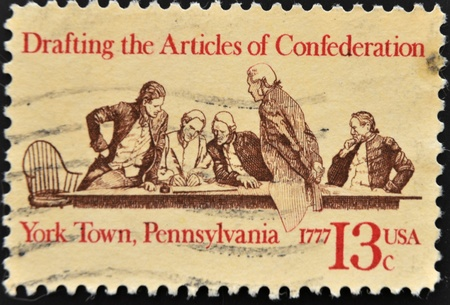 perforated stamp: USA - CIRCA 1977: A stamp printed in the USA shows Drafting the Articles of Confederation, circa 1977