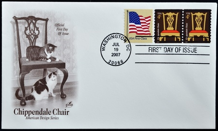 united states of america - circa 2007: stamps printed in usa show a chippendale chair, first day of issue, circa 2007  photo