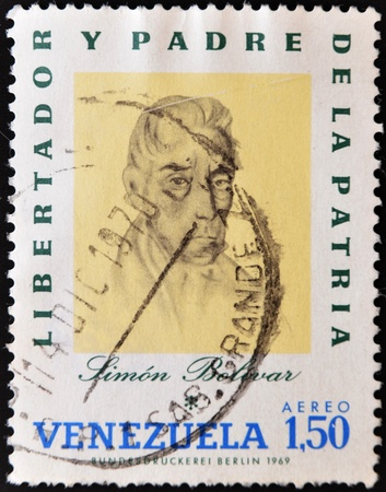 VENEZUELA - CIRCA 1969: A stamp printed in Venezuela shows Simon Bolivar, circa 1969 Stock Photo - 10948328