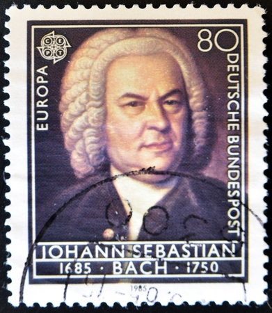 composer: GERMANY - CIRCA 1985: A Stamp printed in the GERMANY shows portrait of the composer Johann Sebastian Bach, circa 1985.
