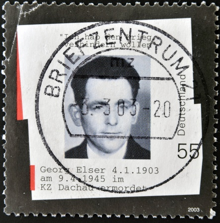 assassinate: GERMANY - CIRCA 2003: A stamp printed in Germany shows photograph of Georg Elser, who tried to assassinate Adolf Hitler, circa 2003