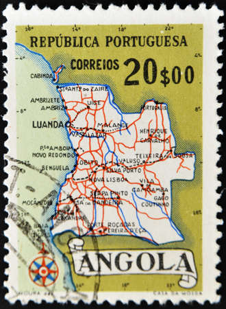 PORTUGAL - - CIRCA 1970s: A stamp printed in Portugal shows map of Angola, circa 1970s  photo