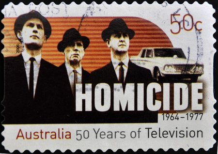 AUSTRALIA - CIRCA 2006: A stamp printed in Australia shows frame from the movie Homicide, circa 2006 photo