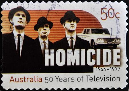 AUSTRALIA - CIRCA 2006: A stamp printed in Australia shows frame from the movie Homicide, circa 2006