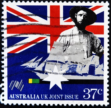 AUSTRALIA - CIRCA 1988: A stamp printed in Australia shows Early settler and sailing clipper, Australia UK Joint Issue, circa 1988 Stock Photo - 11071610