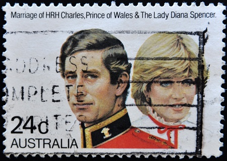 AUSTRALIA - CIRCA 1981: stamp printed by Australia, shows Prince Charles and Lady Diana, circa 1981 Stock Photo - 11071592
