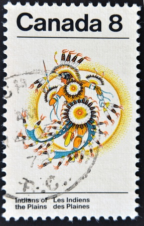 CANADA - CIRCA 1973: stamp printed by Canada, shows Plains Indians, circa 1973  Stock Photo - 11071599