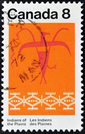 thunderbird: CANADA - CIRCA 1972: stamp printed by Canada, shows Thunderbird Assiniboin Pattern, circa 1972